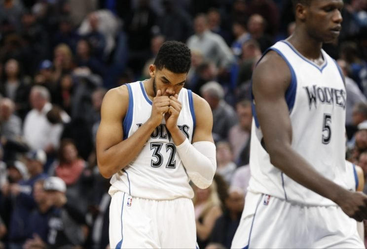 Karl-Anthony Towns reacts to another disappointing Timberwolves loss. (Associated Press)