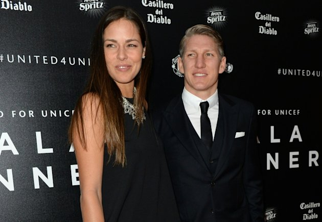 Manchester United star Bastian Schweinsteiger and his girlfriend, tennis player Ana Ivanovic, at the United for UNICEF Gala Dinner at Old Trafford on November 29, 2015