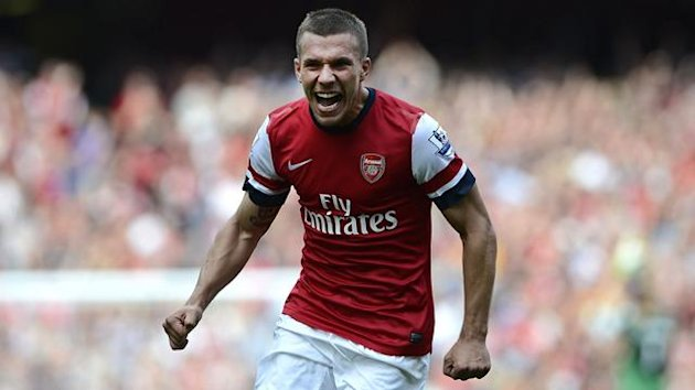 Arsenal's Lukas Podolski celebrates after scoring against Southampton