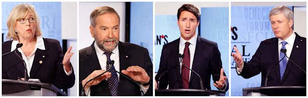 Canada's Green Party leader Elizabeth May (L), New Democratic Party leader Thomas Mulcair (2nd L), Liberal leader Justin Trudeau and Conservative leader Prime Minister Stephen Harper (R) are pictured in this combination photograph during the Maclean's National Leaders debate in Toronto, August 6, 2015. Canadians go to the polls in a national election on October 19, 2015. REUTERS/Mark Blinch