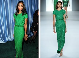 zoe saldana green Elie Saab dress