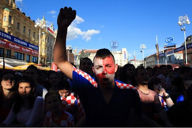 Croatian Football Fans Celebrate At Zagreb's Main Square On June 14, 2012  AFP PHOTO/ STRINGERSTR/AFP/GettyImages AFP/Getty Images