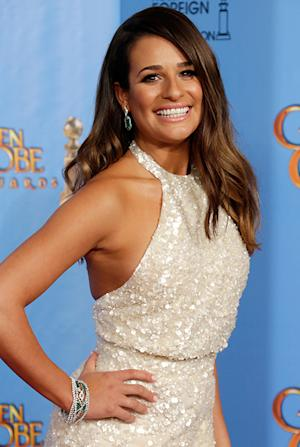 Lea Michele Shows Off Super-Tan Body at 2013 Golden Globes