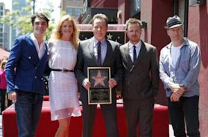 "Bryan Cranston and co-stars of ""Breaking Bad"" pose during ceremonies to unveil Cranston's star on the Hollywood Walk of Fame"