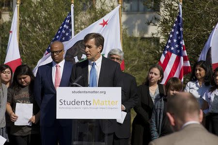 Students Matter Founder Welch speaks to reporters with several California students who successfully challenged the state's teacher tenure laws in this...