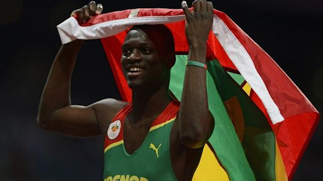 Grenada's Kirani James celebrates after winning the men's 400m final at the London 2012 Olympic Games (Reuters)