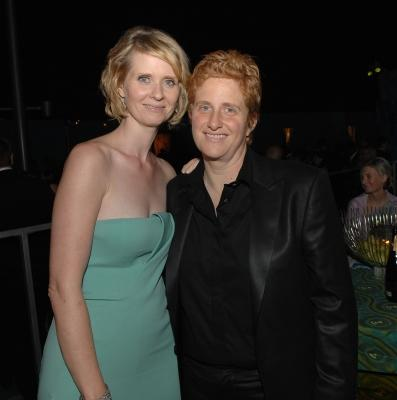 Cynthia Nixon and partner Christine Marinoni attend HBO's Post Primetime Emmy Awards Reception at the Pacific Design Center on September 21, 2008 in Los Angeles, California -- Getty Images