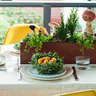 Mix it up with a rosemary-nest place setting