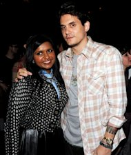 Mindy Kaling and John Mayer pose at a party for 'The Mindy Project' at Skybar in Los Angeles on August 25, 2012 -- Getty Images
