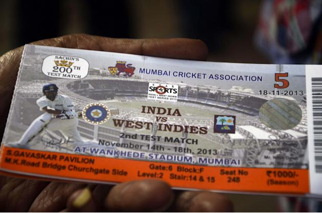 A ticket of 2nd Test Match between India and West Indies with Sachin Tendulkar's photograph on it on Nov.13, 2013. This will be the 200th and the last Test Match of Sachin Tendulkar.(Photo: Sandee