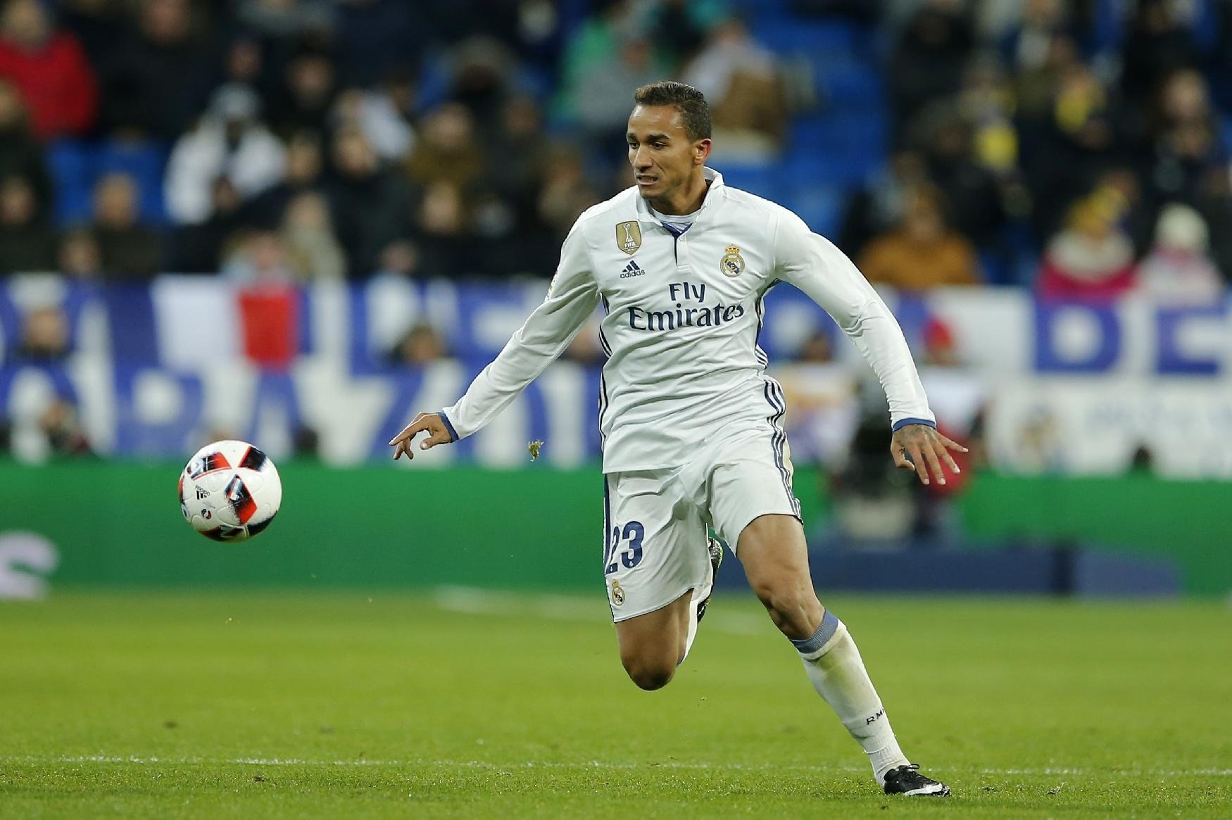 Real Madrid's Danilo controls the ball during a Copa del Rey, quarter final, 1st leg soccer match between Real Madrid and Celta at the Santiago Bernab...