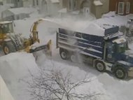 After receiving massive amounts of snowfall, Montreal commissioned construction-grade snow blowers to clear roads by shooting the white stuff into dump trucks!