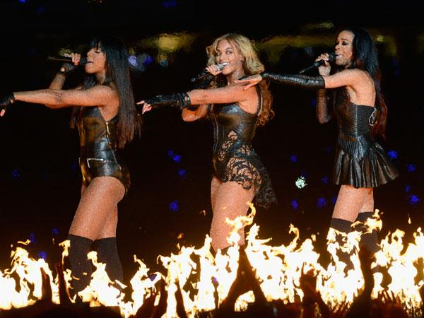 Singers Kelly Rowland, Beyonce and Michelle Williams of Destiny's Child perform during the Pepsi Super Bowl XLVII Halftime Show at Mercedes-Benz Superdome on February 3, 2013 in New Orleans, Louisiana