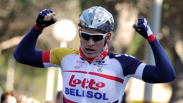 Germany's Andre Greipel (Lotto Belisol) crosses the finish line on February 6, 2013 to win the first stage of the 40th edition of the Tour Mediterraneen between Limoux and Gruissan (AFP)