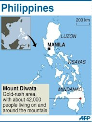 Map of the Philippines locating the gold-rush mining site of Mount Diwata