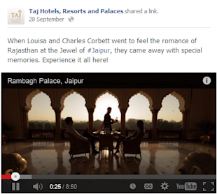 Social Media Strategy Review: Hospitality Industry image Taj Hotels Resorts and Palaces facebook Post