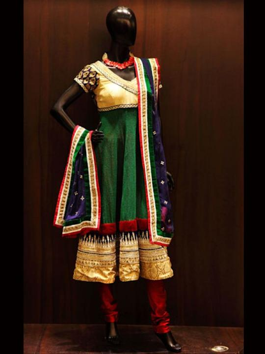Images via : iDiva.comPakeezah Angarakha: Empire west anarkali in traditional colours styled with gold embroidery will give you the ideal occasion look. The outfit made from hand woven jute with banar