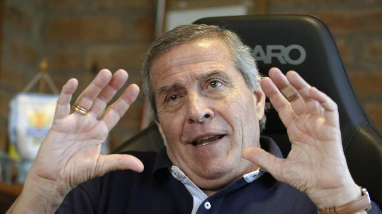 Uruguay's national soccer team head coach Tabarez gestures during a Reuters interview at the team headquarters on the outskirts of Montevideo