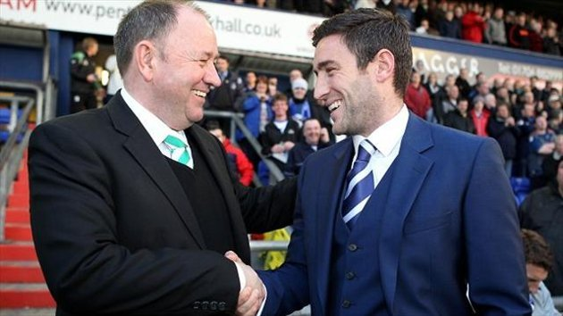 Lee Johnson, right, got the better of his father Gary, left, at Boundary Park