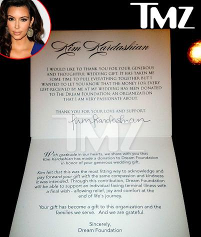 Kim Kardashian Gives Twice the Amount of Wedding Gifts to Charity