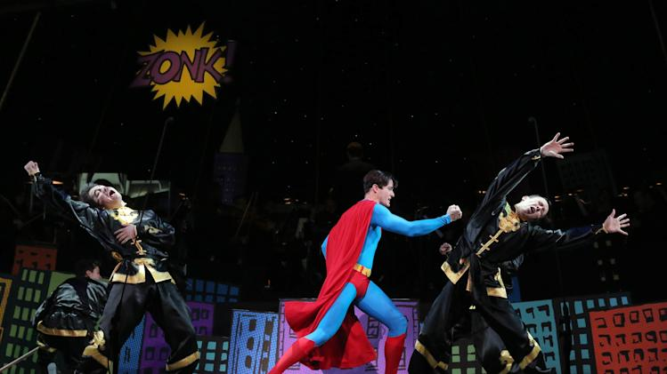 "This undated image released by Helene Davis Public Relations shows Edward Watts as Superman, center, in Encore's ""It's A Bird It's A Plane It's Superman,"" performing through March 24 at New York City Center in New York. (AP Photo/Helene Davis Public Relations, Joan Marcus)"