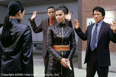Chris Tucker , Roselyn Sanchez and Jackie Chan in New Line Cinema's Rush Hour 2