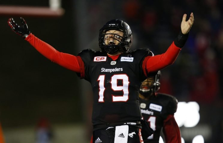 Calgary quarterback Bo Levi Mitchell celebrates as the Stampeders reached the 2016 Grey Cup with a win over B.C.