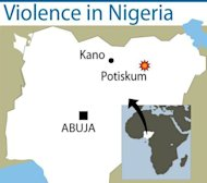 Map locating Potiskum in northeastern Nigeria where an attack on a cattle market by gunmen armed with explosives has left at least 34 dead. An emergency source said the toll was likely to climb