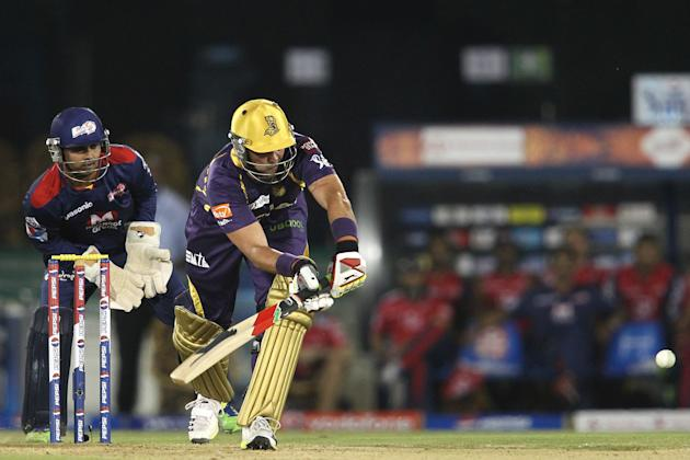 Jacques Kallis of Kolkata Knight Riders pushes a delivery through the leg side during match 44 of the Pepsi Indian Premier League between The Delhi Daredevils and the Kolkata Knight Riders held at the