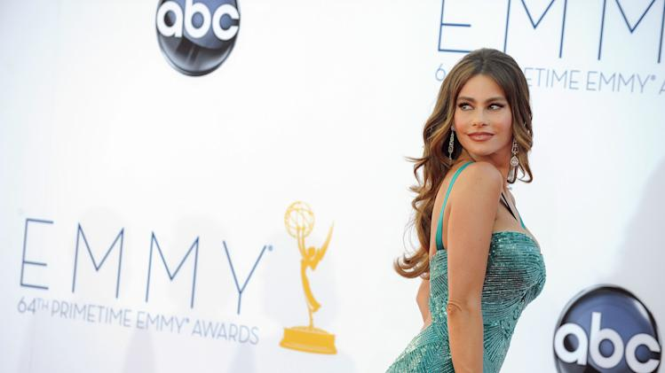 "Actress Sofia Vergara from ""Modern Family"" arrives at the 64th Primetime Emmy Awards at the Nokia Theatre on Sunday, Sept. 23, 2012, in Los Angeles.  (Photo by Jordan Strauss/Invision/AP)"