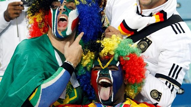 Fans in the stands prior to the FIFA World Cup 2010 semi final match between Germany and Spain at the Durban stadium in Durban, South Africa, 07 July 2010