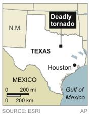 Mp locates area hit by tornado in Texas