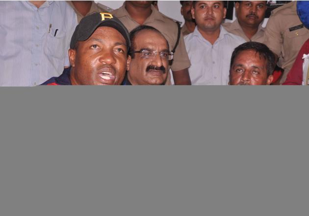 West Indies cricketer Brain Lara meets the press in Dehradun on Oct. 3, 2013. A cricket match was organised between Doon School and Lara's team to raise funds for Kedarnath flood victims. (Photo: IANS