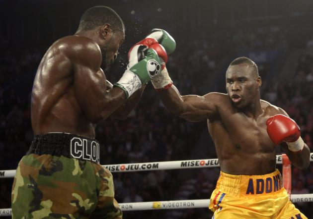 Adonis Stevenson, right, from Montreal, and Tavoris Cloud, of the Unite Statess, battle during boxing bout Saturday, Sept. 28, 2013, in Montreal