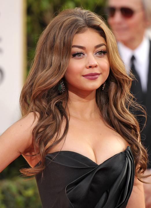FILE - This Jan 13, 2013 file photo shows actress Sarah Hyland at the 70th Annual Golden Globe Awards in Beverly Hills, Calif. Hyland, 22, is a swimsuit model for OP.  (Photo by John Shearer/Invision/