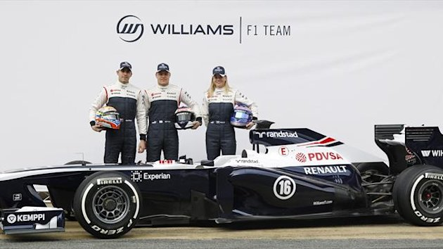 Williams Formula One drivers Pastor Maldonado (L) and Valtteri Bottas and test-driver Susie Wolff (R) pose with the new FW35 racing car during its presentation at Circuit de Catalunya racetrack in Montmelo, near Barcelona (Reuters)