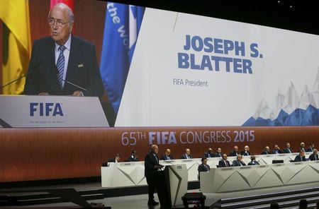 FIFA president Sepp Blatter delivers an opening speech at the 65th FIFA Congress in Zurich, Switzerland, May 29, 2015.