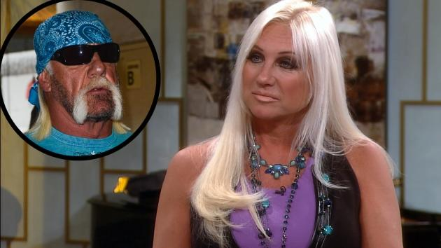 Linda Hogan appears on Access Hollywood Live on October 29, 2012, inset: Hulk Hogan -- Access Hollywood / Getty Images
