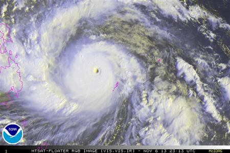 Typhoon Haiyan is pictured in this NOAA satellite handout image taken November 6, 2013 at 23:13 UTC. REUTERS/NOAA/Handout via Reuters