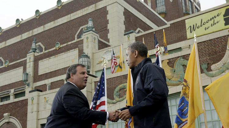 President Barack Obama shakes hands with New Jersey Gov. Chris Christie before speaking outside at Asbury Park Convention Hall ,Tuesday, May 28, 2013 in Asbury Park, New Jersey. Obama traveled to New Jersey to join  Christie to inspect and tour the Jersey Shore's recovery efforts from Hurricane Sandy. (AP Photo/Pablo Martinez Monsivais)