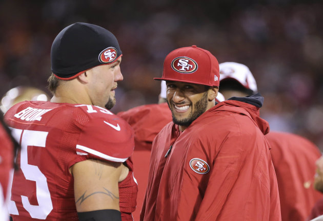 Alex Boone is responsible for helping QB Colin Kaepernick stay upright during the season. (USA TODAY Sports)