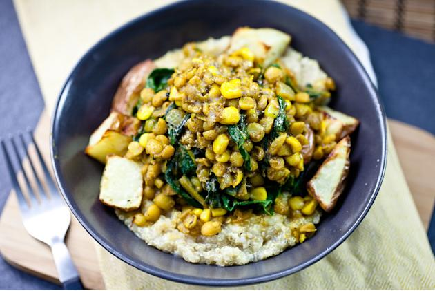 Curried Lentils, Corn and Chard with Roasted Potatoes