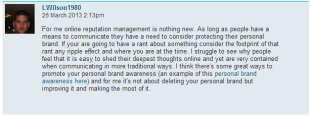 Don't Delete Your Online Presence – Maximise it for Brand 'YOU'! image lee comment