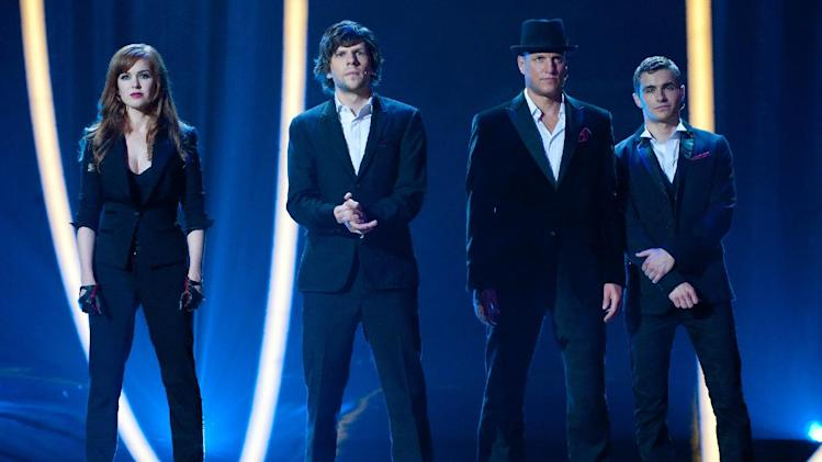 "This film image released by  Summit Entertainment shows, from left, Isla Fisher, Jesse Eisenberg, Woody Harrelson and Dave Franco in a scene from ""Now You See Me."" (AP Photo/ Summit Entertainment, Barry Wetcher)"