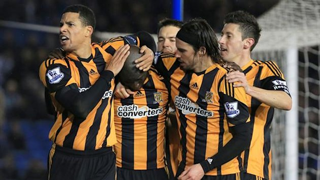 Hull City's Yannick Sagbo (second from left) is congratulated by team mates after scoring the equalizer for his side (PA Photos)