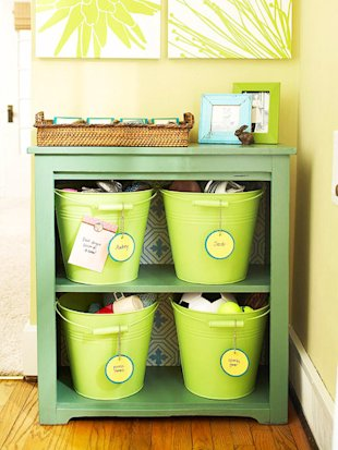 Bookshelf with Labeled Buckets