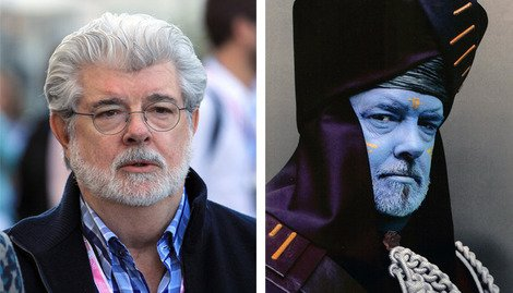 George Lucas (left) and as Baron Papanoida (right).