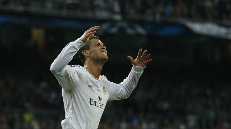 Real's Cristiano Ronaldo reacts during a first leg semifinal Champions League soccer match between Real Madrid and Bayern Munich at the Santiago Bernabeu stadium in Madrid, Spain, Wednesday, April 23, 2014