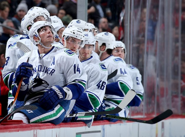 NEWARK, NJ - DECEMBER 06: Alexandre Burrows #14 of the Vancouver Canucks and the rest of his teammates on the bench watch the replay of Henrik Sedin's goal in the third period against the New Jersey Devils on December 6, 2016 at Prudential Center in Newark, New Jersey. (Photo by Elsa/Getty Images)