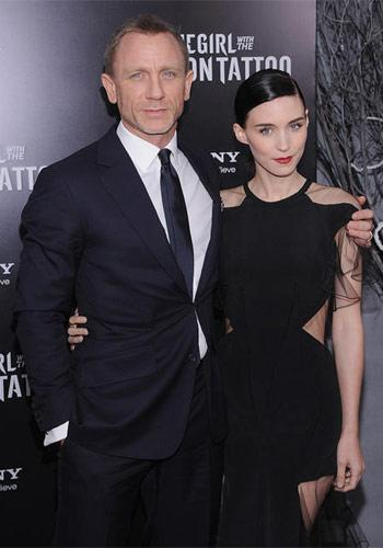 Daniel Craig and Rooney Mara at the New York premiere of The Girl With the Dragon Tattoo on December 14, 2011. Photo by Dimitiros Kambouris, Film Magic